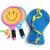 子供たちのラッケトはラケット類のおもちゃで、子供用ラケット小学生3-12歳の野外スポーツセットの笑顔ラケット+縄跳び(スポーツセット)を提供します。